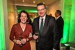 04.02.2019, Dorint Park Hotel Bremen, Bremen, GER, 1.FBL, 120 Jahre SV Werder Bremen - Gala-Dinner<br /> <br /> im Bild<br />  <br /> Reinhard Grindel (DFB Präsident)<br /> Wenke Wiebe-Grindel (Ehefrau von Reinhard Grindel)<br /> <br /> Der Fussballverein SV Werder Bremen feiert am heutigen 04. Februar 2019 sein 120-jähriges Bestehen. Im Park Hotel Bremen findet anläßlich des Jubiläums ein Galadinner statt. <br /> <br /> Foto © nordphoto / Ewert