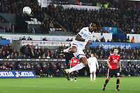Leroy Fer of Swansea City back heels the ball into the box during a corner in the Carabao Cup Fourth Round match between Swansea City and Manchester United at the Liberty Stadium, Swansea, Wales, UK. Tuesday 24 October 2017