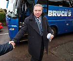 Ally McCoist first off the team bus and ready with a happy new year handshake