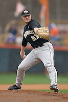 Starting pitcher Brad Kledzik #27 of the Wake Forest Demon Deacons in action versus the Clemson Tigers at Doug Kingsmore stadium March 13, 2009 in Clemson, SC. (Photo by Brian Westerholt / Four Seam Images)