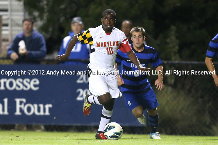 12 October 2012: Maryland's Sunny Jane (10) and Duke's Riley Wolfe (9). The University of Maryland Terrapins defeated the Duke University Blue Devils 2-1 at Koskinen Stadium in Durham, North Carolina in a 2012 NCAA Division I Men's Soccer game.