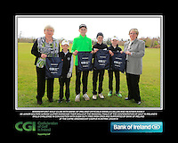 Warrenpoint GC team with Bank of Ireland Officials Angela Callan and Heather Raney with Junior golfers from across Ulster practicing their skills at the regional finals of the Dubai Duty Free Irish Open Skills Challenge at The CAFRE Greenmount Campus in Antrim. 2/04/2016.<br /> Picture: Golffile | Fran Caffrey<br /> <br /> <br /> All photo usage must carry mandatory copyright credit (© Golffile | Fran Caffrey)