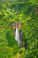 Manawaiopuna Falls, featured in the movie, Jurassic Park, Kauai, Hawaii