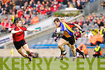 Paul O'Connor Kenmare in Action against Keith Kelly  Ballinasloe in the Junior All Ireland Club Final in Croke park on Sunday.