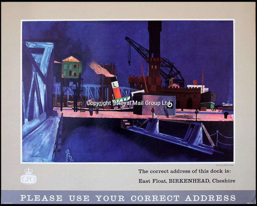 BNPS.co.uk (01202 558833)<br /> Pic: RoyalMailGroup/BNPS<br /> <br /> Robert Scanlan (Born 1908) East Float, Birkenhead, Cheshire, original GPO poster.<br /> <br /> A one-of-a-kind sale of rare vintage posters could net the Post Office &pound;40,000 to put towards the building of a new museum dedicated to the service.<br /> <br /> In a bid to raise funds for the new British Postal Museum, curators sifted through the Royal Mail archives to find duplicates of advertising posters dating back to the 1930s that they could sell at auction.<br /> <br /> The resulting collection of more than 150 original posters are now going under the hammer at Onslows Auctions in Blandford, Dorset, in a sale the likes of which has never been held before.<br /> <br /> The proceeds will go towards the building of the new museum in Camden, London, which will feature part of the old Post Office Underground Railway - the Mail Rail - as a heritage attraction.