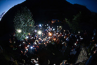 About 200 miners wifes started a night march towards a closed mine in Cinera,Leon, to protest against the government cuts. Esther Rodriguez, a miner's wife said: &quot;What future can we have? But the worst thing is that nobody in Spain supporting us, only miners from other countries like Poland and the UK.&quot;<br /> <br /> A miner who wished to stay anonymous said: ''There is a lot of tension, and the tension is reaching the point where riot police are entering villages full of women and children, and they don't care. In the same way that they don't care, we won't care either. It's really sad because it is reaching the point that one day something bad will happen.&quot;