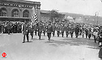 Lieut. James Mulville leading the group of policemen during Waterbury's 250th anniversary parade on June 7, 1924.