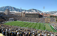 A general view of Folsom Field with the snow-covered flatiron mountains in the background during an NCAA football Big 12 conference game between the Missouri Tigers and the Colorado Buffaloes in Boulder, Colorado on October 31, 2009.