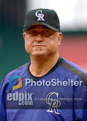 14 June 2006: Clint Hurdle, manager of the Colorado Rockies, stands outside the batting cage prior to a game against the Washington Nationals in Washington, DC. The Rockies defeated the Nationals 14-8 in front of 24,273 fans at RFK Stadium...Mandatory Photo Credit: Ed Wolfstein Photo.