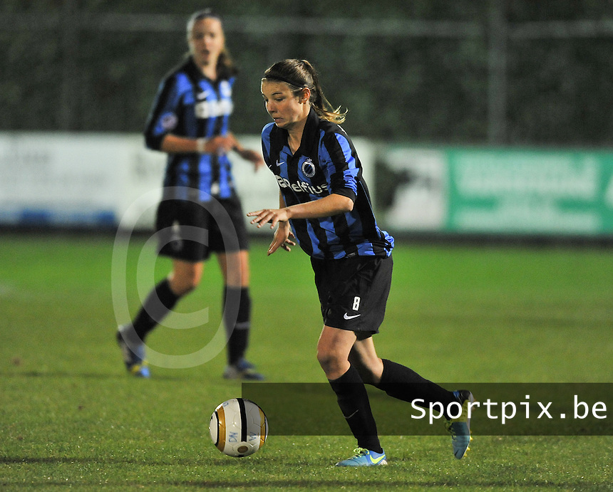 20131001 - VARSENARE , BELGIUM : Brugge's Nicky Van Den Abbeele pictured during the female soccer match between Club Brugge Vrouwen and Royal Antwerp FC Ladies , of the fifth matchday in the BENELEAGUE competition. Tuesday 1 October 2013. PHOTO DAVID CATRY