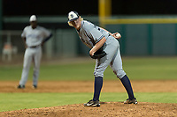 AZL Padres 1 relief pitcher Tom Colletti (53) checks the runner at first base during an Arizona League game against the AZL Cubs 1 at Sloan Park on July 5, 2018 in Mesa, Arizona. The AZL Cubs 1 defeated the AZL Padres 1 3-1. (Zachary Lucy/Four Seam Images)