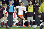 08 November 2013: Virginia's Morgan Brian. The University of Virginia Cavaliers played the Virginia Tech Hokies at WakeMed Stadium in Cary, North Carolina in a 2013 NCAA Division I Women's Soccer match and the semifinals of the Atlantic Coast Conference tournament. Virginia Tech won the game 4-2.