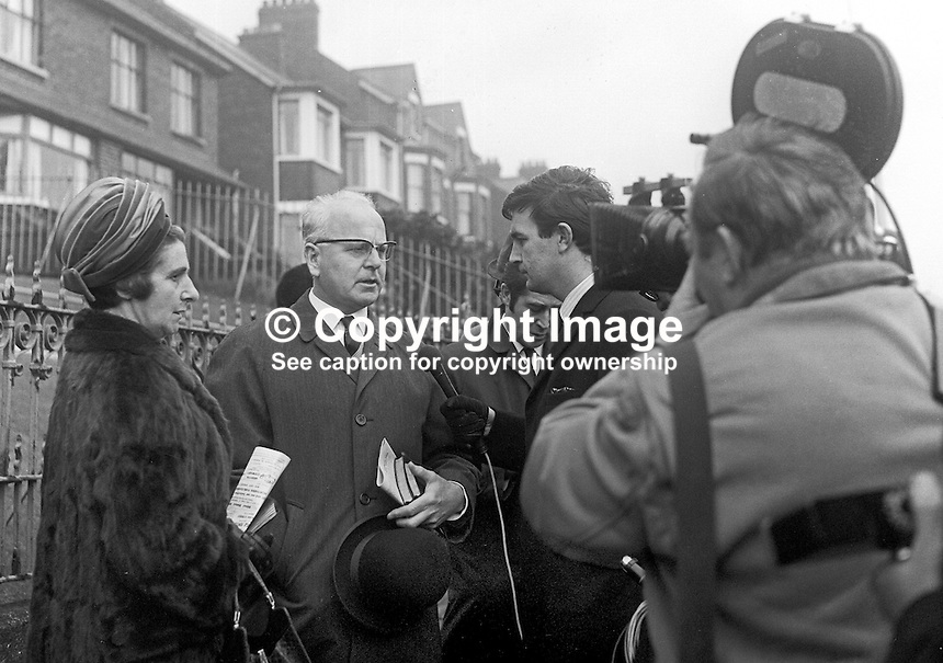 William Morgan, N Ireland Minister for Health &amp; Social Services, is interviewed Robin Walsh from Ulster Television, following his resignation from the post. Mr Morgan is accompanied by his wife. He is being interviewed outside Oldpark Presbyterian Church with which he is prominently connected. 26th June 1969. 196901260013. <br />