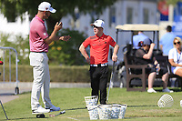 Paul Waring (ENG) speaking to the EDGE player Brendan Lawlor (IRL) after they finished there round ahead of the 3rd round of the DP World Tour Championship, Jumeirah Golf Estates, Dubai, United Arab Emirates. 23/11/2019<br /> Picture: Golffile | Fran Caffrey<br /> <br /> <br /> All photo usage must carry mandatory copyright credit (© Golffile | Fran Caffrey)