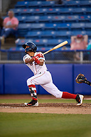 Salem Red Sox shortstop Santiago Espinal (5) follows through on a swing during a game against the Lynchburg Hillcats on May 10, 2018 at Haley Toyota Field in Salem, Virginia.  Lynchburg defeated Salem 11-5.  (Mike Janes/Four Seam Images)