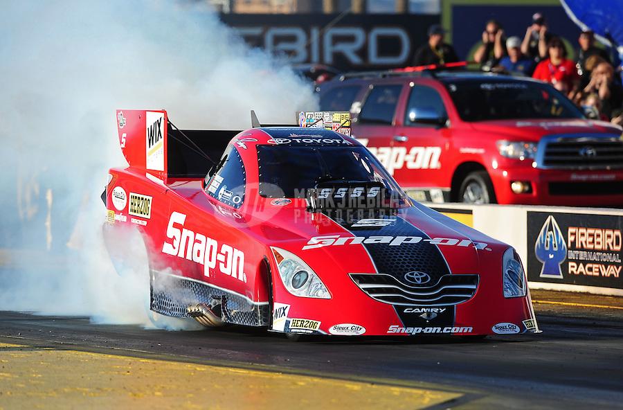 Feb. 17 2012; Chandler, AZ, USA; NHRA funny car driver Cruz Pedregon during qualifying for the Arizona Nationals at Firebird International Raceway. Mandatory Credit: Mark J. Rebilas-