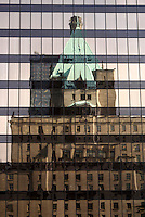 The Fairmont Hotel Vancouver reflected in a glass building, Vancouver, British Columbia, Canada
