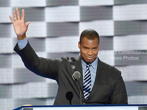 Jason Collins makes remarks at the 2016 Democratic National Convention at the Wells Fargo Center in Philadelphia, Pennsylvania on Monday, July 25, 2016.<br /> Credit: Ron Sachs / CNP<br /> (RESTRICTION: NO New York or New Jersey Newspapers or newspapers within a 75 mile radius of New York City)