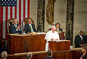 Pope Francis delivers an address to a Joint Session of the United States Congress in the US Capitol in Washington, DC on Thursday, September 24, 2015.  Pictured with the Pope are US Vice President Joe Biden and the Speaker of the US House of Representatives John Boehner (Republican of Ohio).<br /> Credit: Ron Sachs / CNP<br /> (RESTRICTION: NO New York or New Jersey Newspapers or newspapers within a 75 mile radius of New York City)