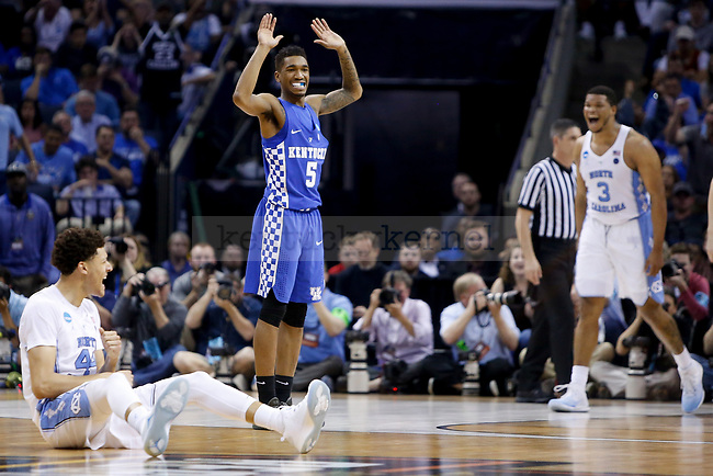 Kentucky Wildcats guard Malik Monk reacts after a foul on North Carolina Tar Heels forward Justin Jackson during the 2017 NCAA Men's Basketball Tournament South Regional Elite 8 at FedExForum in Memphis, TN on Friday March 24, 2017. Photo by Michael Reaves | Staff