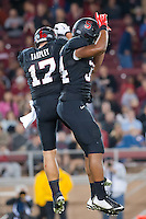 STANFORD, CA - OCTOBER 10, 2014: A.J. Tarpley and Peter Kalambayi during Stanford's game against Washington State. The Cardinal defeated the Cougars 34-17.
