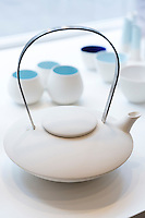 Danish minimallst design ceramics by designer craftsman Ditte Fischer in stylish shop in Laederstraede, Copenhagen, Denmark - teapot