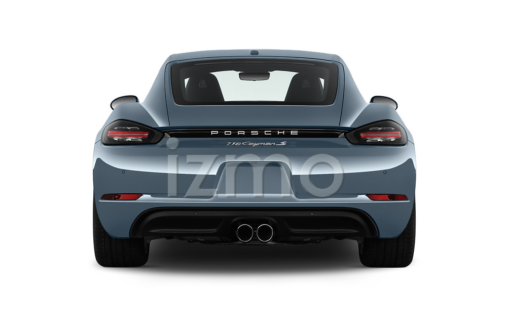 Straight rear view of a 2018 Porsche 718 Cayman S 2 Door Coupe stock images