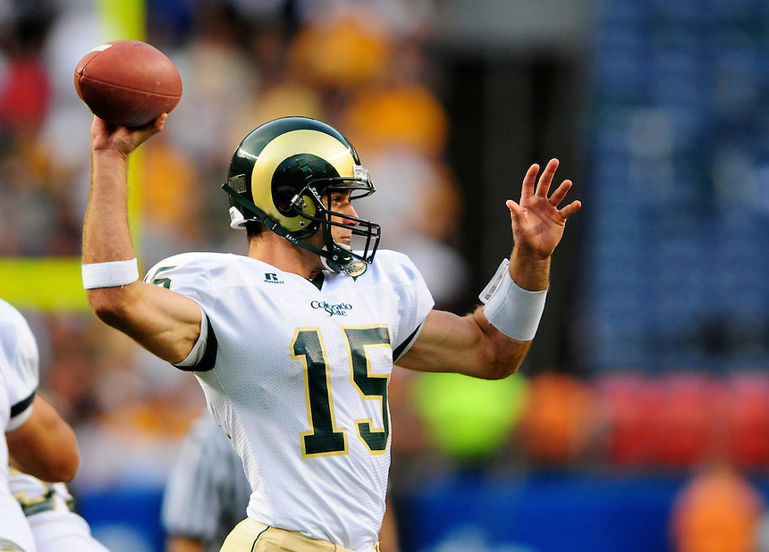 31 Aug 2008: Colorado State quarterback Billy Farris passes against Colorado. The Colorado Buffaloes defeated the Colorado State Rams 38-17 at Invesco Field at Mile High in Denver, Colorado. FOR EDITORIAL USE ONLY