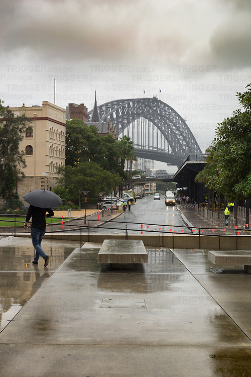 Storm in Sydney Australia at the harbour bridge