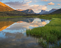Bridger-Teton National Forest, Wyoming:<br /> Evening light on the Wind River range with reflections on the Green River