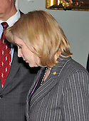 Washington, D.C. - December 22, 2009 -- United States Senator Kirsten E. Gillibrand (Democrat of New York) bows her head as she departs the Senate Democratic Party Caucus Luncheon in the U.S. Capitol on Tuesday, December 22, 2009.Credit: Ron Sachs / CNP.(RESTRICTION: NO New York or New Jersey Newspapers or newspapers within a 75 mile radius of New York City)