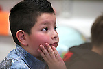 Diego Rangel, 7, listens as Nevada Gov. Brian Sandoval speaks to his first grade class at Pleasant Valley Elementary School south of Reno, Nev., on Tuesday, Feb. 7, 2012. Sandoval released his economic development plan Tuesday, including a goal of creating 50,000 jobs by 2014..Photo by Cathleen Allison