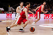 9th February 2018, Wiznik Centre, Madrid, Spain; Euroleague Basketball, Real Madrid versus Olympiacos Piraeus; Janis Strelnieks (OLYMPIACOS BC) brings the ball foward