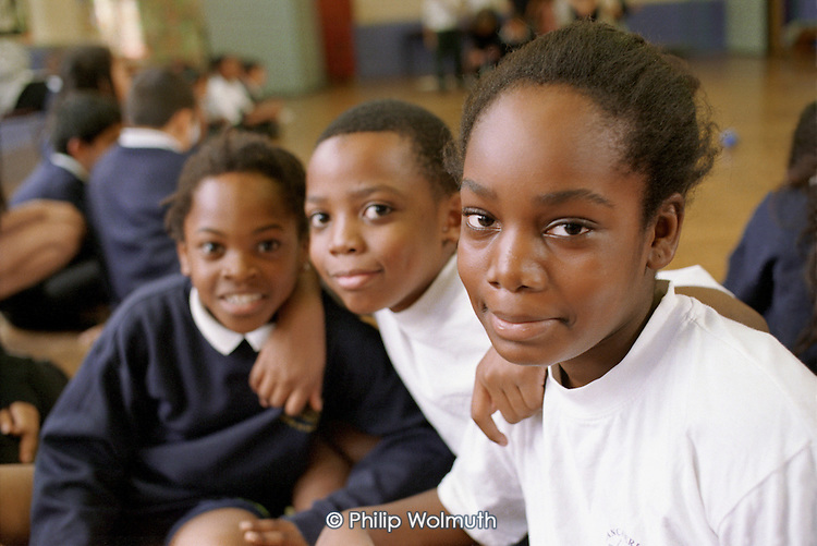 Pupils at Lancasterian Junior School in Hariongey, North London