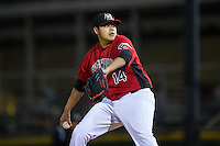 Hickory Crawdads starting pitcher Luis Ortiz (14) in action against the Kannapolis Intimidators at L.P. Frans Stadium on April 23, 2015 in Hickory, North Carolina.  The Crawdads defeated the Intimidators 3-2 in 10 innings.  (Brian Westerholt/Four Seam Images)
