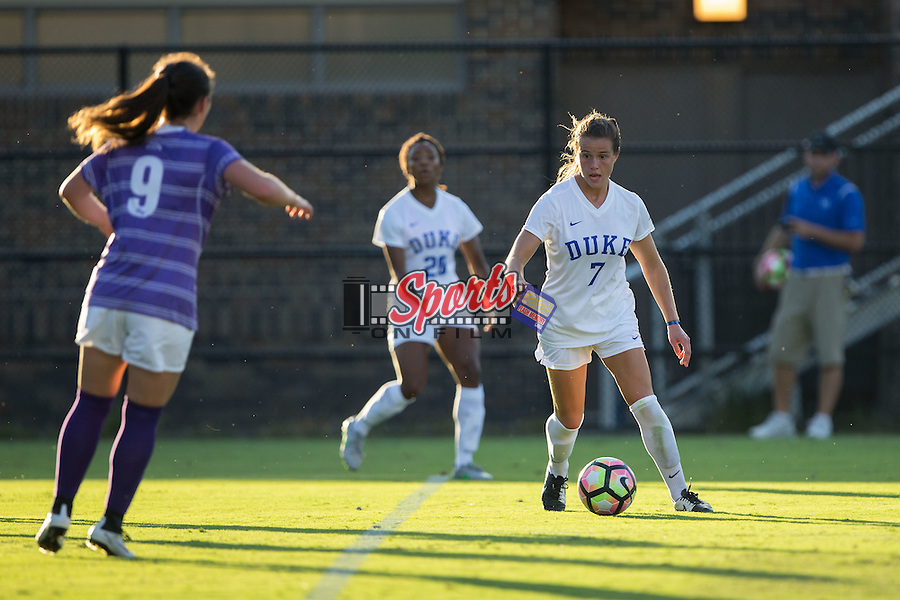 Taylor Racioppi (7) of the Duke Blue Devils controls the ball during first half action against the High Point Panthers at Koskinen Stadium on September 11, 2016 in Durham, North Carolina.  The Blue Devils defeated the Panthers 4-1.   (Brian Westerholt/Sports On Film)