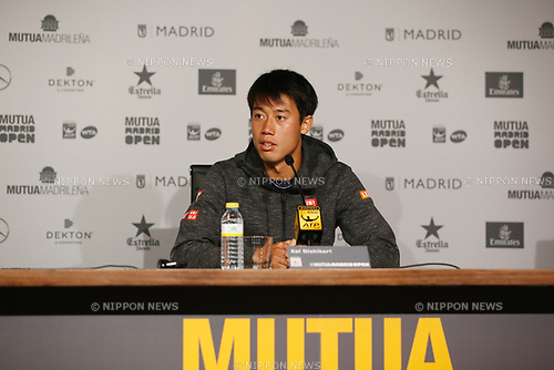 Kei Nishikori (JPN), MAY 10, 2017 - Tennis : Kei Nishikori of Japan in press conference after singls 2nd round match against Diego Schwartzman of Argntina on the ATP World Tour Masters 1000 Mutua Madrid Open tennis tournament at the Caja Magica in Madrid, Spain. (Photo by Mutsu Kawamori/AFLO) [3604]