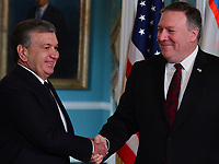 Washington, DC - May 17, 2018: Secretary of State Michael Pompeo meets with Uzbekistan President Shavkat Mirziyoyev at the State Department in Washington, D.C. May 17, 2018.  (Photo by Don Baxter/Media Images International)
