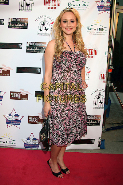 """ERICA ROSE.""""Hats Off For Cancer"""" Benefit Party at Sugar Boutique, Hollywood, California, USA..May 9th, 2007.full length purple black leopard print dress halterneck black shoes too small bag purse .CAP/ADM/BP.©Byron Purvis/AdMedia/Capital Pictures"""