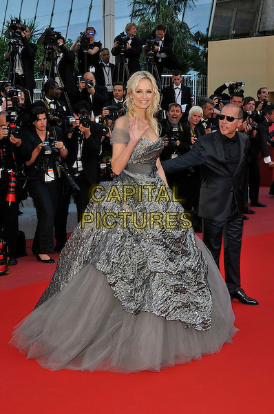 ADRIANA KAREMBEU.(Adriana Sklenaríkova).'Biutiful' premiere at the 63rd International Cannes Film Festival, Cannes, France, May 17th 2010..full length grey gray long maxi ballgown gown dress tulle hand waving shimmery .CAP/PL.©Phil Loftus/Capital Pictures.