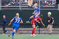 Allston, MA - Sunday, May 1, 2016:  Boston Breakers midfielder McCall Zerboni (77), Boston Breakers defender Kassey Kallman (5) and Portland Thorns FC forward Nadia Nadim (9) in a match at Jordan Field, Harvard University.
