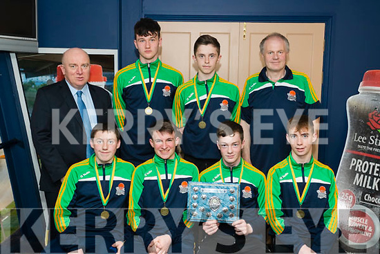 Pictured at the Kingdom Greyhound Stadium Kerry Area Basketball Board awards and medal presentation on Tuesday evening last were Gneeveguilla Basketball team Under 16 boys winners division 1 Mens County League and Cup, l-r: Patrick Brosnan, Lorcan Keane, Jack Brosnan and Paul O'Leary.  Back l-r: Jerry Dwyer (Lee Strand), David Gleeson, Charlie Collins and Michael Rusk.