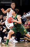 SIOUX FALLS, SD - MARCH 8: Brooke LeMar #4 of NDSU drives the basket against  Jordan Doyle #2 of Oral Roberts in the first half of their first round Summit League Championship Tournament game Sunday afternoon at the Denny Sanford Premier Center in Sioux Falls, SD. (Photo by Dave Eggen/Inertia)