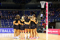 10.02.2017 The Silver Ferns form a huddle during the pre-match warm-up ahead of the Vitality Netball International Series test match against England Roses played at the Echo Arena in Liverpool. Mandatory Photo Credit © Paul Greenwood/Michael Bradley Photography.