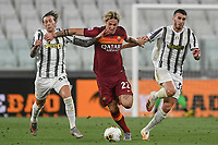 Nicolo Zaniolo of Roma and Federico Bernardeschi, Simone Muratore of Juventus compete for the ball during the Serie A football match between Juventus FC and AS Roma at Juventus stadium in Turin (Italy), August 1st, 2020. Play resumes behind closed doors following the outbreak of the coronavirus disease. Photo Andrea Staccioli / Insidefoto