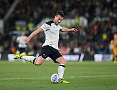8th September 2017, Pride Park Stadium, Derby, England; EFL Championship football, Derby County versus Hull City; David Nugent of Derby County takes a shot at the Hull City goal