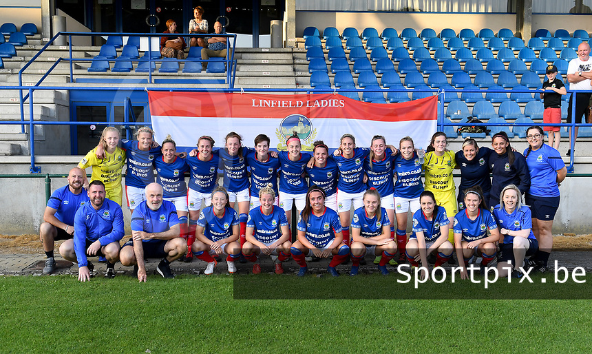 20190810 - DENDERLEEUW, BELGIUM : Linfield's players pictured celebrating their win after the female soccer game between the Greek PAOK Thessaloniki Ladies FC and the Northern Irish Linfield ladies FC , the second game for both teams in the Uefa Womens Champions League Qualifying round in group 8 , Wednesday 7 th August 2019 at the Van Roy Stadium in Denderleeuw  , Belgium  .  PHOTO SPORTPIX.BE | DAVID CATRY