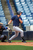 Spencer Brickhouse (8) of Bunn High School in Zebulon, North Carolina playing for the Cleveland Indians scout team during the East Coast Pro Showcase on July 28, 2015 at George M. Steinbrenner Field in Tampa, Florida.  (Mike Janes/Four Seam Images)