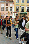 Europe, Estonia, Tallinn. Local Estonian teens march in demonstration in Tallinn.