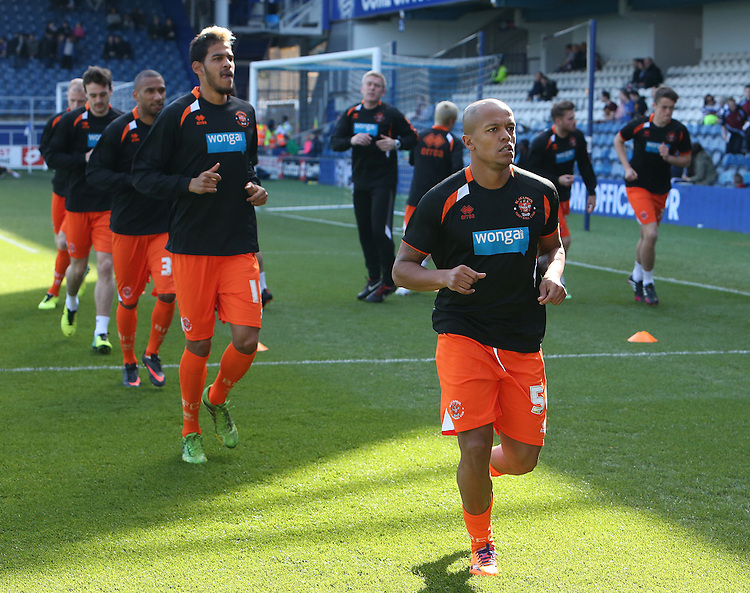 Blackpool's Robert Earnshaw during the pre-match warm-up <br /> <br /> Photo by Kieran Galvin/CameraSport<br /> <br /> Football - The Football League Sky Bet Championship - Queens Park Rangers v Blackpool - Saturday 29th March 2014 - Loftus Road - London<br /> <br /> &copy; CameraSport - 43 Linden Ave. Countesthorpe. Leicester. England. LE8 5PG - Tel: +44 (0) 116 277 4147 - admin@camerasport.com - www.camerasport.com